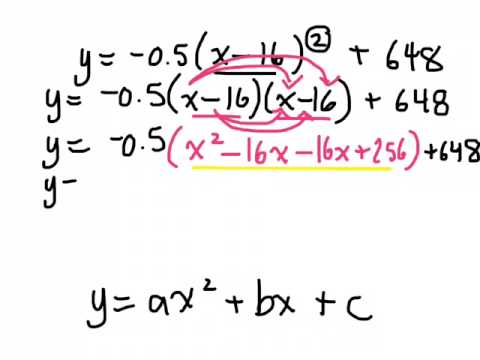 Converting quadratic relations from vertex form to standard form ...