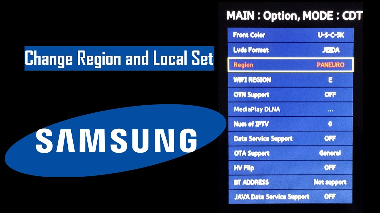 Samsung TV Change Region And Local Set Area with Service Menu
