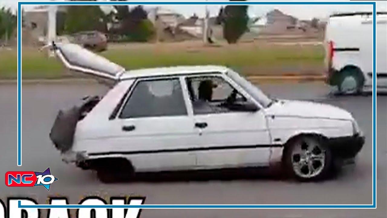 SIN RUEDAS - Auto andaba por la ciudad sin ruedas traseras