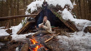 My 1st SOLO Wiฑter Overnight! Bushcraft Shelter, Cooking on Coals, Campfire Breakfast
