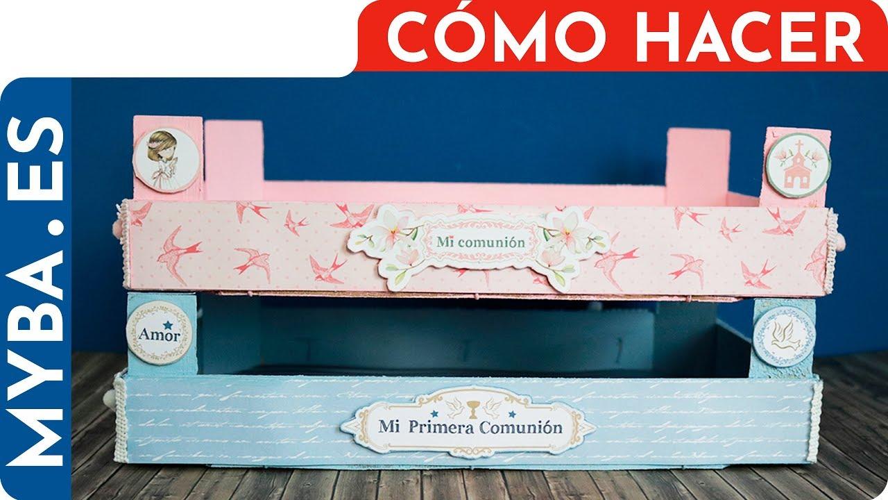C mo decorar cajas de fesas para comuniones y mesas de - Como decorar cajas de madera paso a paso ...