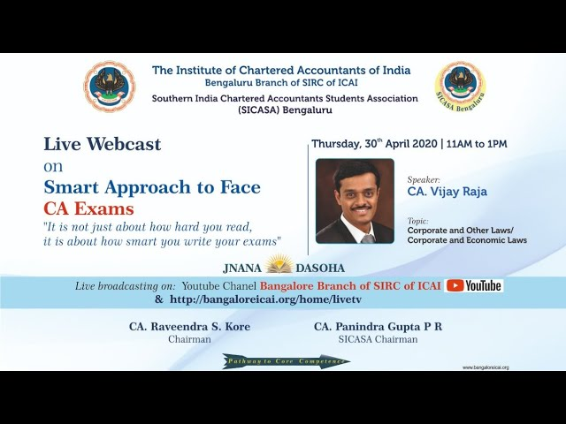 Smart Approach to face CA Exams- Corporate law