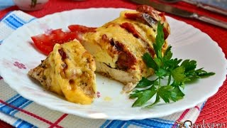 Куриное филе с брынзой и вялеными помидорами на пару
