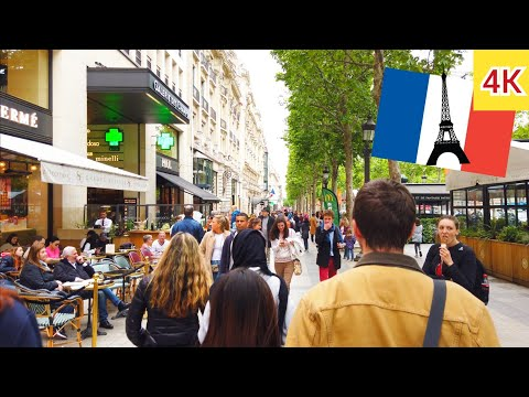 ⁴ᴷ Paris walking tour 🇫🇷 Champs Élysées and beauty shops 💅💄 France 4K