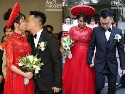 Diệp Lâm Anh ôm hôn chồng hạnh phúc trong lễ rước dâu