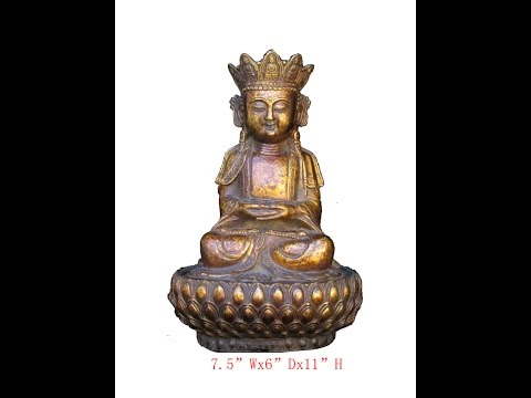 Unique Chinese Antique Brass Lotus Stand Sitting Buddha Statue WK2857