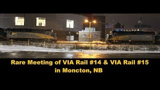 "A Rare meet of VIA Rail #14 & #15 ""Ocean"" in Moncton, NB 12-23-17"