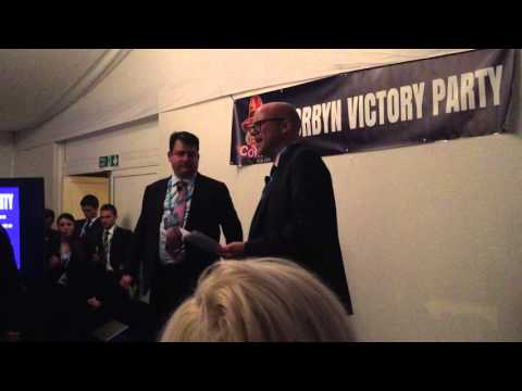 Toby Young delivers speech at Tories4Corbyn victory party