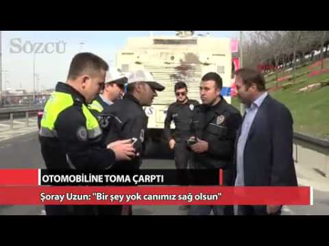ŞORAY UZUNUN OTOMOBİLİNE TOMA ÇARPTI!!!