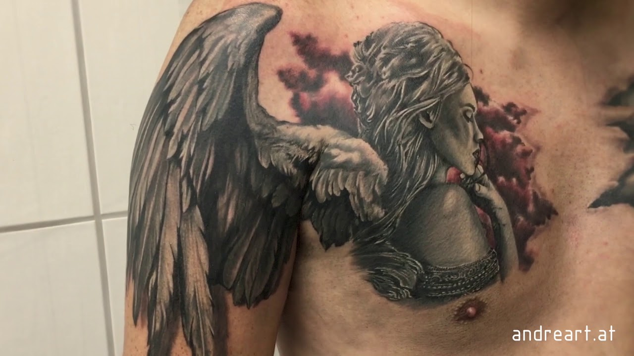 Chest Tattoos For Men Angel Wings And Clouds