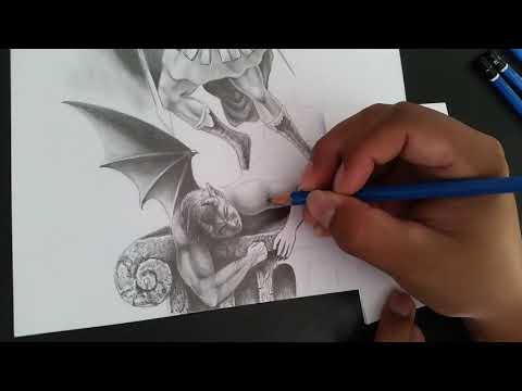 Dibujando a San Miguel Arcángel y La Caída de Lucifer - time lapse, (Lápices de grafito)