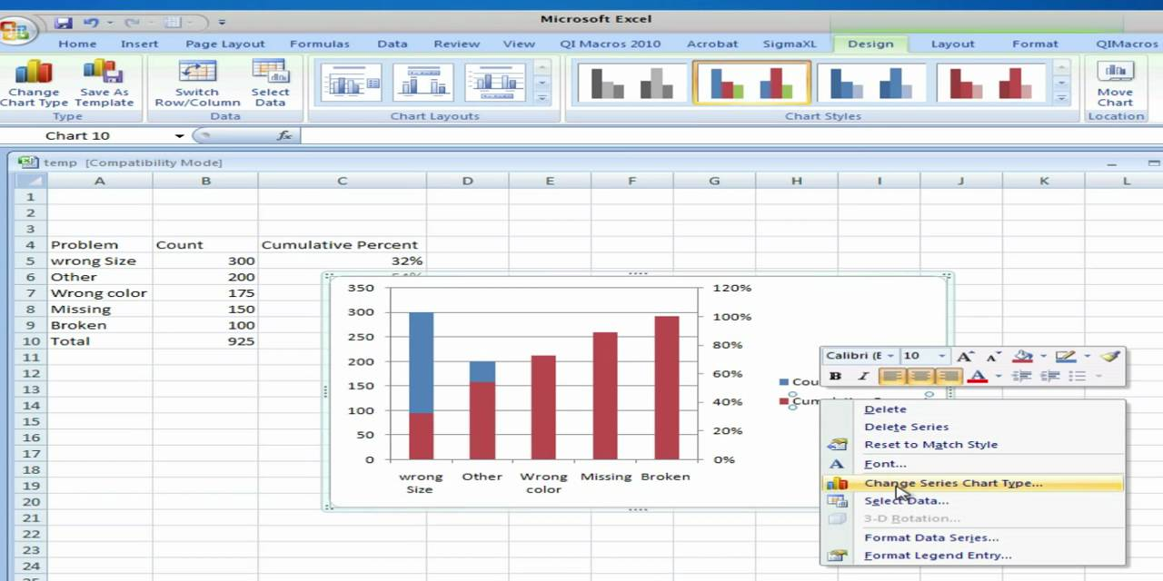 Pareto analysis using microsoft excel 2007 youtube pareto analysis using microsoft excel 2007 nvjuhfo Choice Image