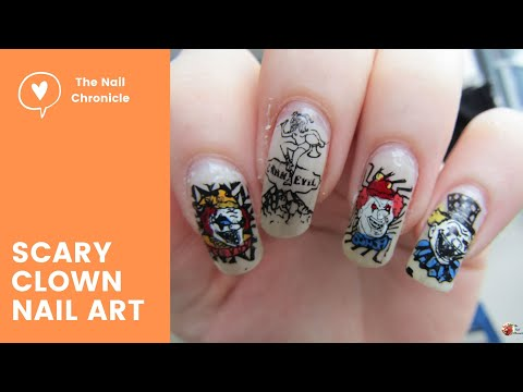 Scary Clown | Halloween Nail Art Tutorial thumbnail