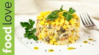Салат ШАМПУРУЗА с курицей, грибами и кукурузой. Улетает первым со стола | Вкусные салаты | FoodLove