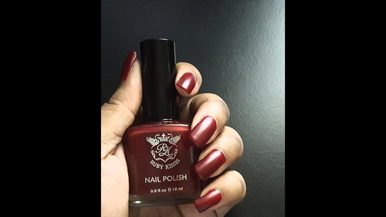 Ruby Kisses Nail (Dark Cherry) Polish|Perfect Fall Color - YouTube