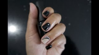 LOVING LIFE! Super Easy and Elegant Black Nails with Rhinestones! Cute and Easy Nail Tutorial!