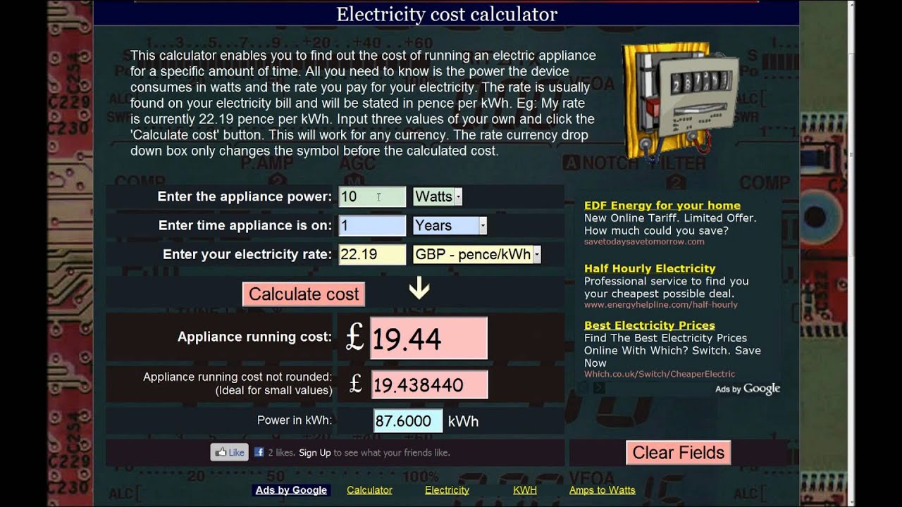 How To Calculate The Cost Of Running Electric Liances Kwh Calculator