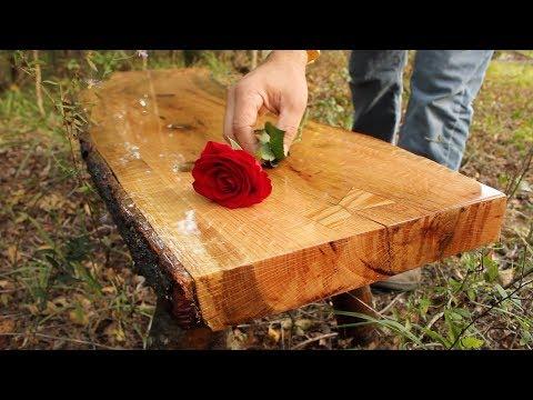 Rustic Red Oak Slab Bench with Quarter Sawn Grain