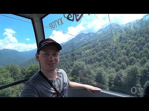Подъем на Роза Пик канатная дорога в Сочи горный курорт Роза Хутор летний отдых на Кавказе в горах