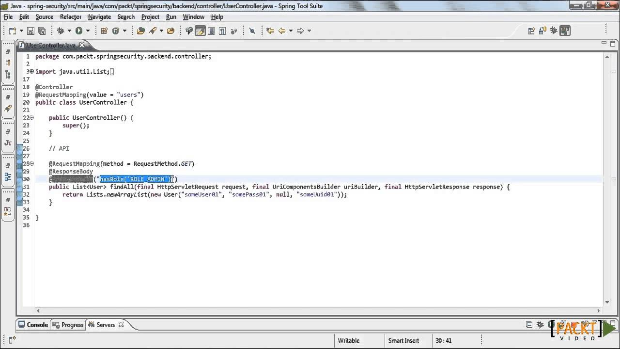 Spring Security Tutorial: Authorization with Expressions - on Methods    packtpub com