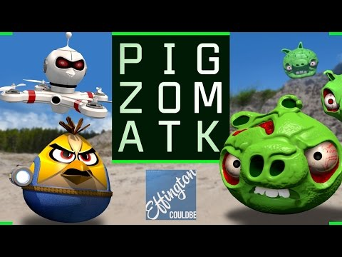 Pig Zombie Attack - Angry Birds Parody