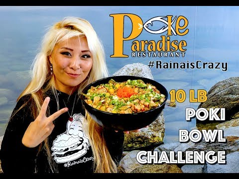 10lb Poki Bowl Eating Challenge $100 Cash Prize Reward | Poki Paradise | San Jose | RainaisCrazy