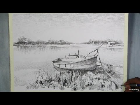 How to Draw A Boat Landscape step by step with pencil