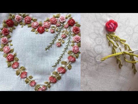 Bullion Knot Rose Stitch Hand Embroidery tutorial | Brazilian Hand Embroidery Flower Design Stitches