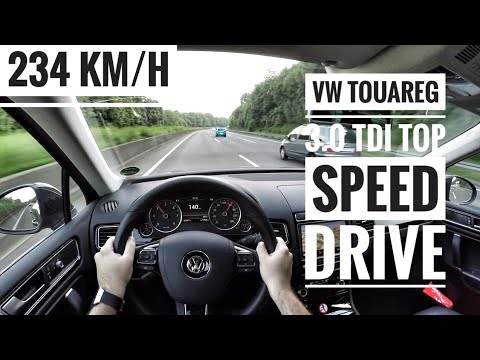 VW Touareg II 3.0 TDI V6 (2016) POV On German Autobahn By Day And Night - Top Speed Drive