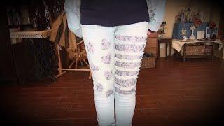 Старые джинсы стрейч превращаем в дизайнерские джинсы. МК