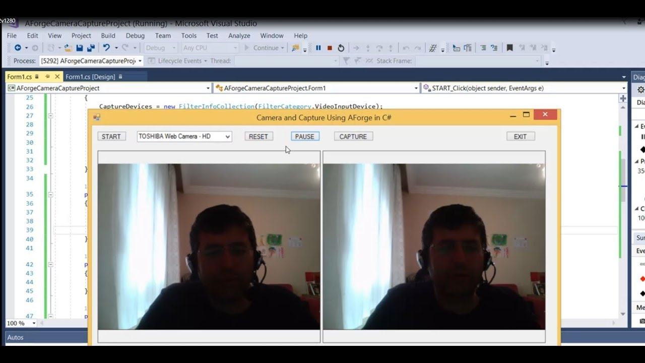 C# Development Camera and Capture using AForge Library Code included VS 2017