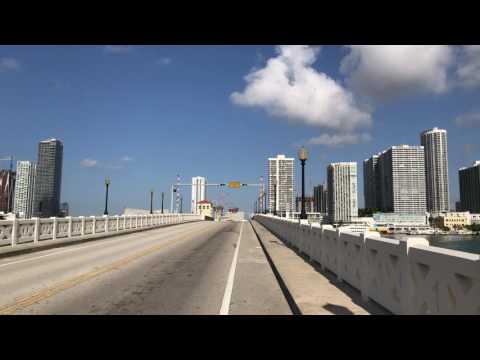Biking into Miami from Venetian Causeway