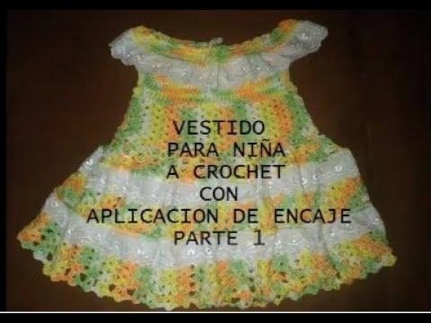 Parte 1 de 3 vestido a crochet para ni a con aplicaci n - Aplicaciones en crochet ...
