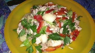 Летний салатик с дыней, сладким перцем и курицей! Summer salad with melon, sweet pepper and chicken!