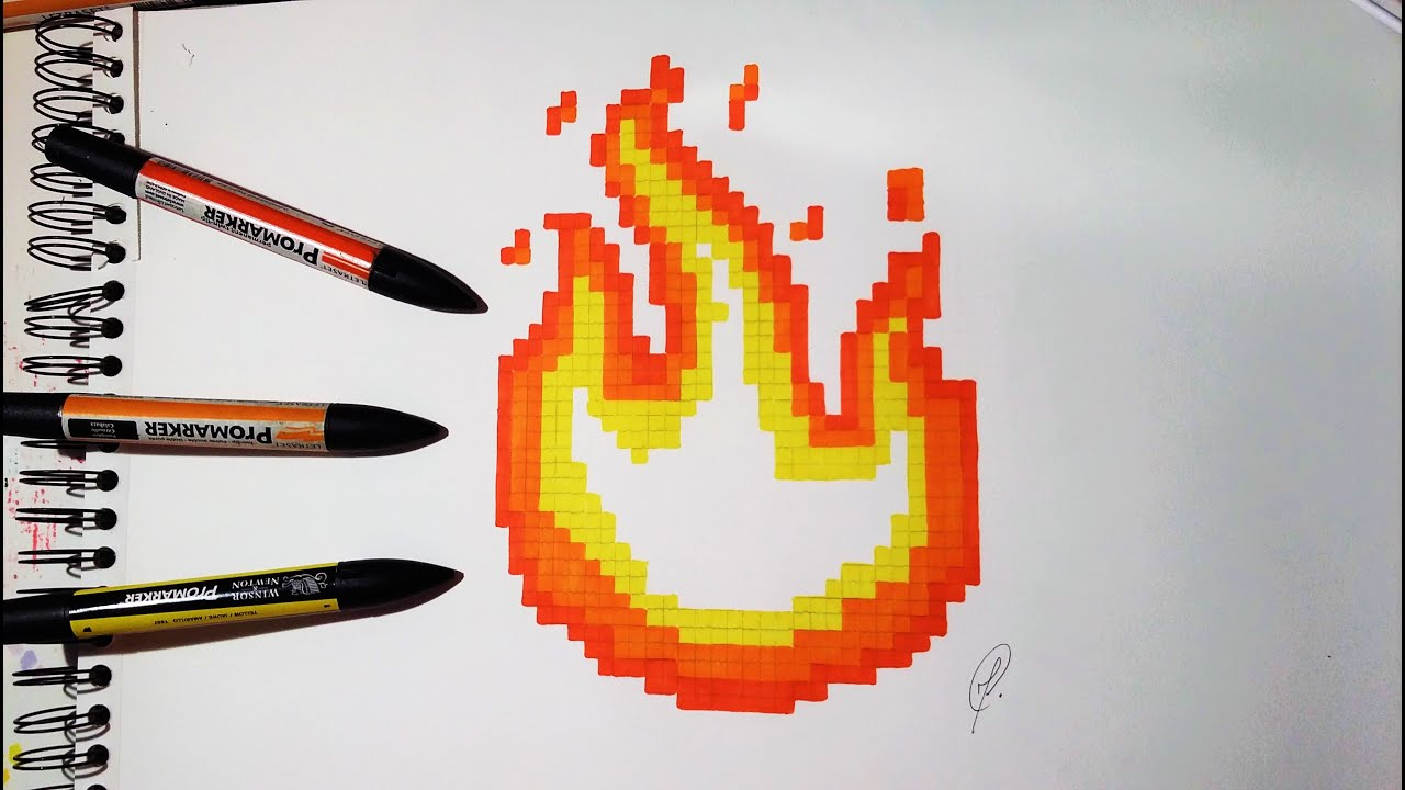 Emoji Fire Drawing Pixel Art Youtube
