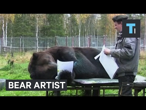 This bear's paintings are so good that he was given his own art show