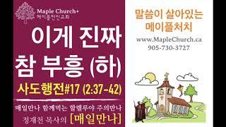 매일만나#17 이게 진짜 참 부흥 (사도행전 2:37-42) | 정재천 담임목사 | 말씀이 살아있는 Maple Church