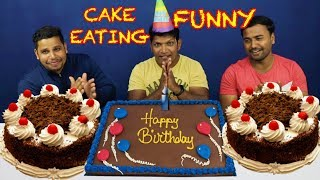 FUNNY CAKE EATING BY 3 MEN IN INDIA | BEST CAKE EATING CHALLENGE EVER PERFORMED