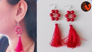 How to Make Party wear silk thread earrings / Silk thread Tassel earrings / Tutorial