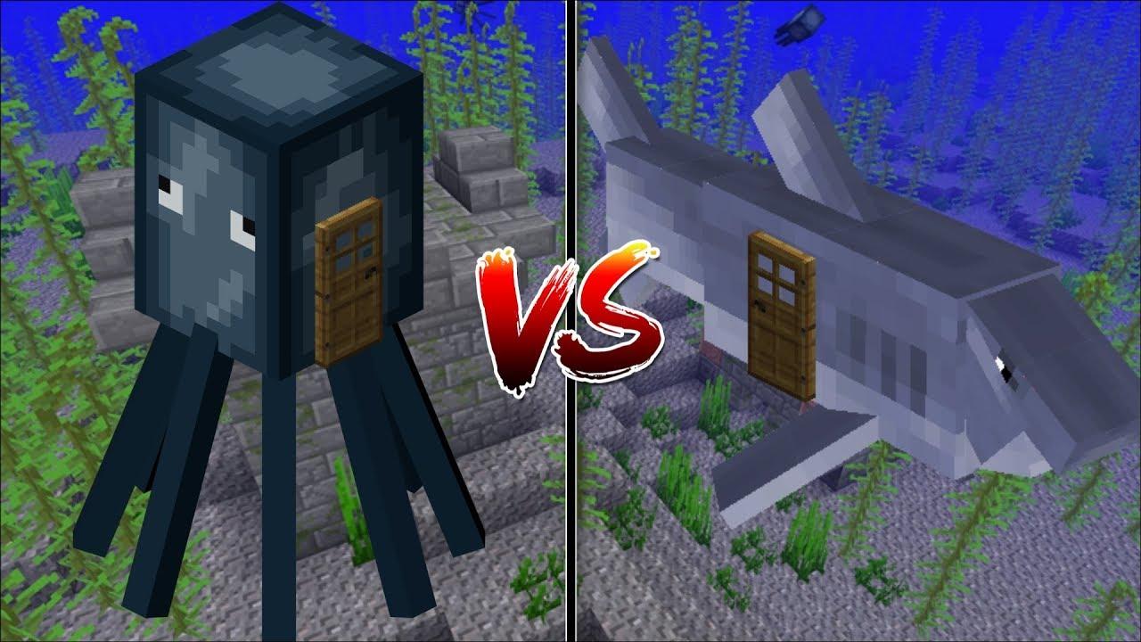 Minecraft SQUID HOUSE VS SHARK HOUSE / MAKE YOUR OWN HOUSE IN MINECRAFT !! Minecraft Mods