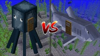 Minecraft SQUID HOUSE VS SHARK HOUSE / MAKE YOUR OWN HOUSE IN MINECRAFT !! Minecraft Mods