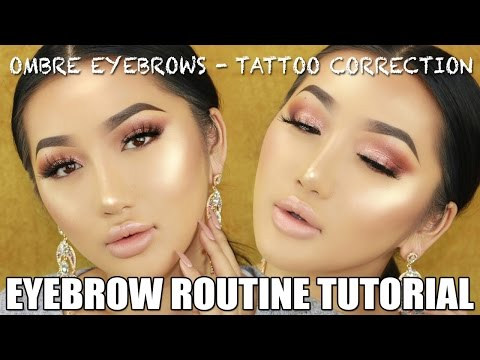 OMBRE EYEBROW TUTORIAL || TATTOO CORRECTION. - YouTube