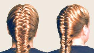 Плетение Колоска или Косы Рыбий Хвост Обучение | French Fishtail Braid Hairstyles for Medium Hair