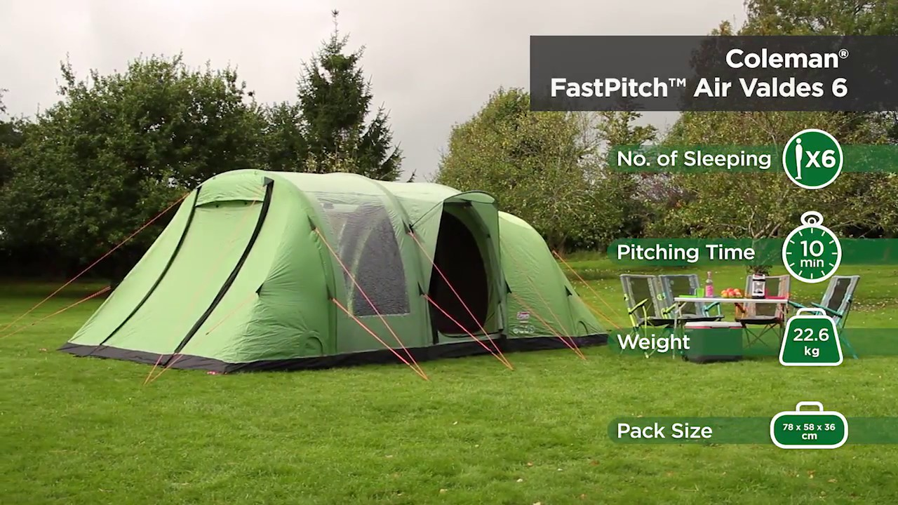 3c4c685ccf Coleman® FastPitch Air Valdes 6 - inflatable 6 man family tent with  Blackout Bedrooms