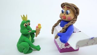 PLAY DOH PRINCESS BABY AND FROG - Stop Motion Animation Cartoons