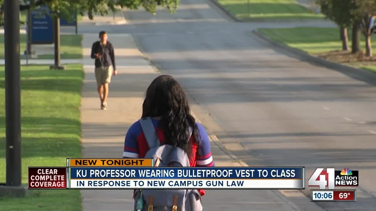 KU professor wears bullet proof vest as students now allowed to carry guns on campus