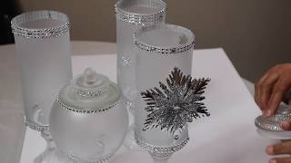 DOLLAR TREE DIY CHRISTMAS DECOR 2018 - FROSTED GLASS APOTHECARY JARS