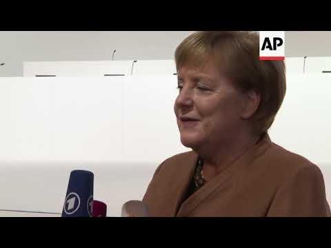 Merkel visits venue ahead of CDU convention