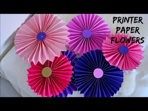 DIY (Printer Paper) Birthday Decoration Flowers || Tissue Paper Pom Pom Flowers  || Party Decor