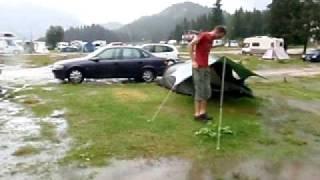 Regenbui op de camping in Misurina
